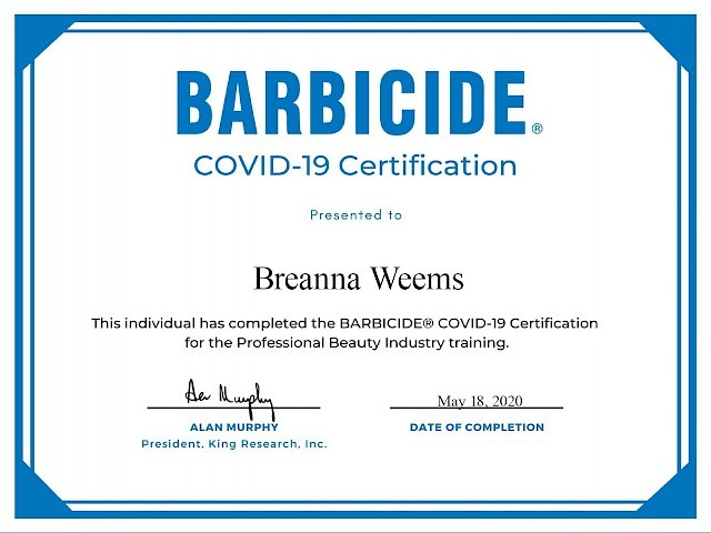Breanna Weems - Barbicide® COVID-19 Certification