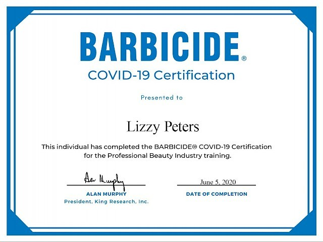 Lizzy Peters - Barbicide® COVID-19 Certification